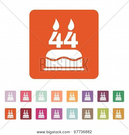 The birthday cake with candles in the form of number 44 icon. Birthday symbol. Flat