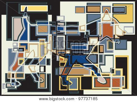Colorful abstract illustration of a trotting dog