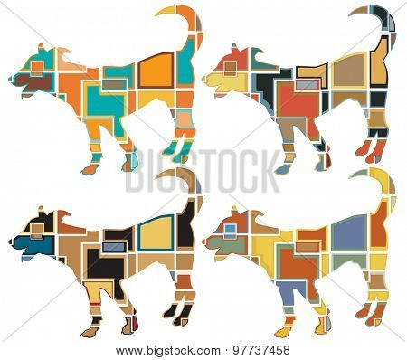 Set of colorful mosaic illustrations of a young dog