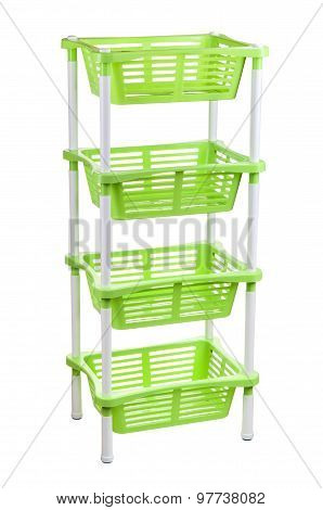 Plastic bookcase isolated on a white background.