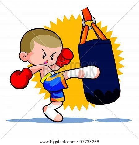 Muaythai Sandbag Boxing Kick