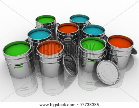 Open buckets with a paint. 3D render illustration on white background.