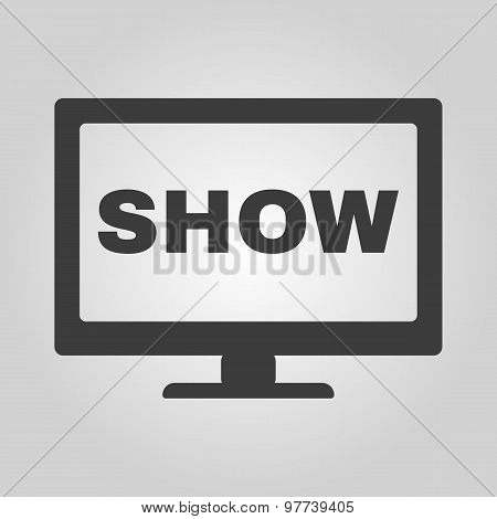 The tv show icon. Television and telly, telecasting, broadcast symbol. Flat