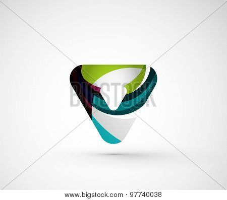 Abstract geometric company logo triangle, arrow. Vector illustration of universal shape concept made of various wave overlapping elements
