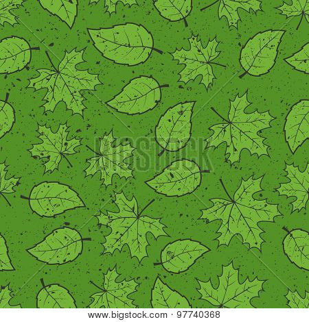 Seamless leaves grunge pattern background