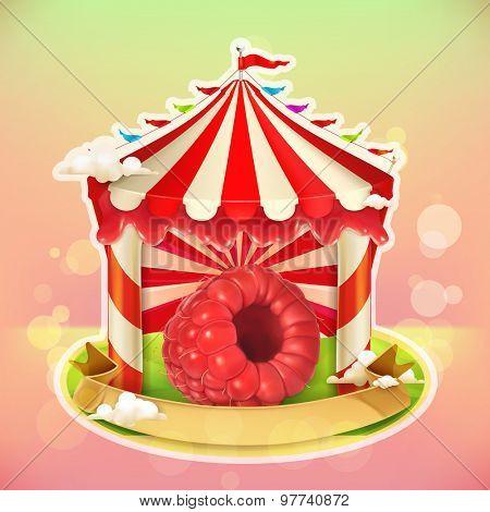 Fruit jam poster raspberries, sweets emblem, specialized agricultural fair, vector illustration background for making design of sweets, jam jar, a juice pack etc