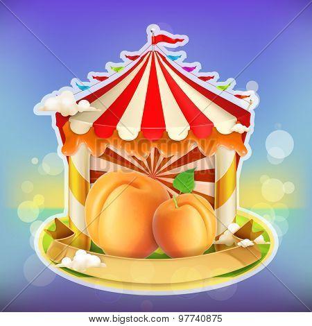 Fruit jam poster apricot, sweets emblem, specialized agricultural fair, vector illustration background for making design of sweets, jam jar, a juice pack etc