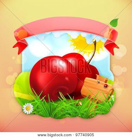 Fresh fruit label, vector illustration background for making design of a juice pack, jam jar etc