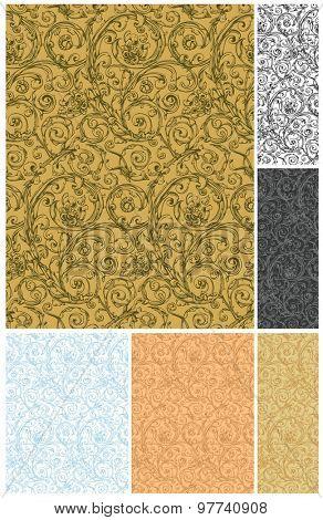 Seamless wallpaper pattern, vector set