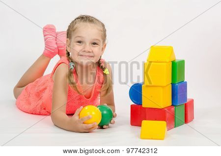 Happy Child In The House Out Of Blocks