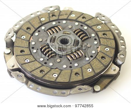 Car clutch isolated on white closeup