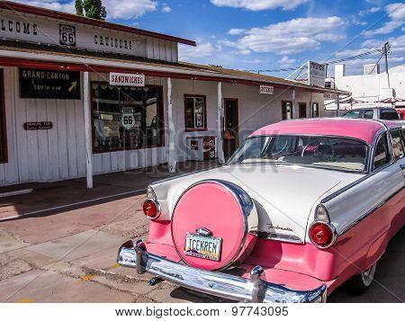 Historic pink cadillac