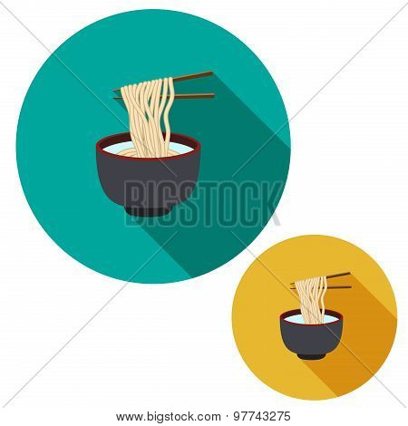 Set Of Noodle In Soup Bowl Are Holding With Chopsticks In Flat Icon Style