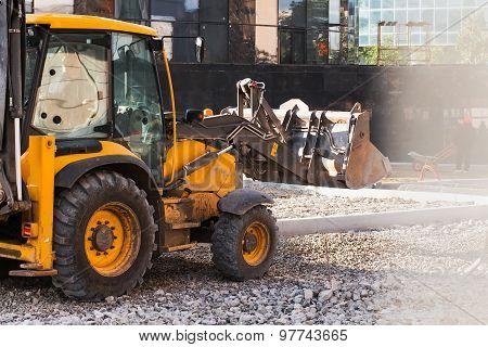 wheel loader excavator working