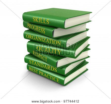 Stack of book on best practice (clipping path included)
