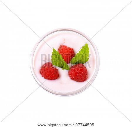 Light raspberry yogurt with fresh raspberries