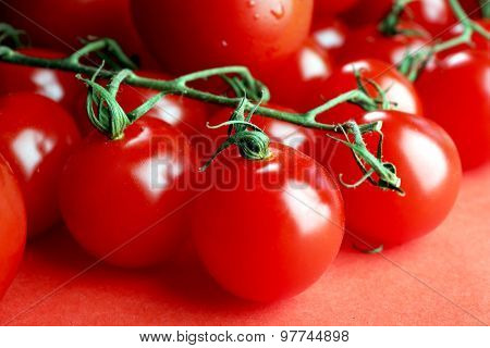 Pile of cherry tomatoes close up