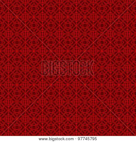 Seamless Chinese window tracery geometry round diamond pattern background.