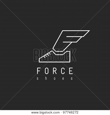 Shoes Logo With Wing In View Letter F, Mockup Emblem Winged Sneaker