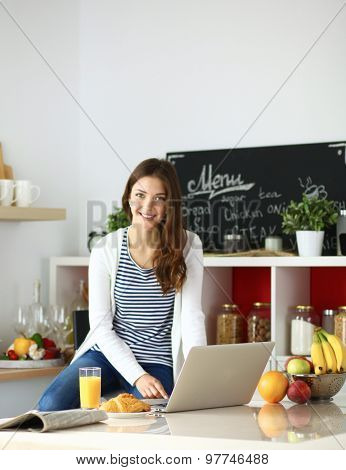 Attractive young woman using laptop and sitting in the kitchen .
