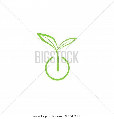 Sprout Mockup Eco Logo, Green Leaf Seedling, Growing Plant