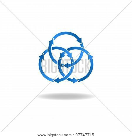 Blue Ring Arrows, Mockup Logo, Closed Loop, Vicious Circle Icon