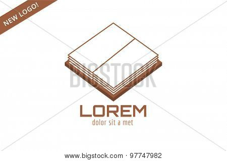 Book open template logo icon. Back to school. Education, university, college symbol or knowledge, books stack, publish, page paper. Design element. Isolated on white
