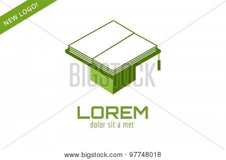 Book hat template logo icon. Back to school. Education, university, college symbol or knowledge, books stack, publish, page paper. Design element. Isolated on white