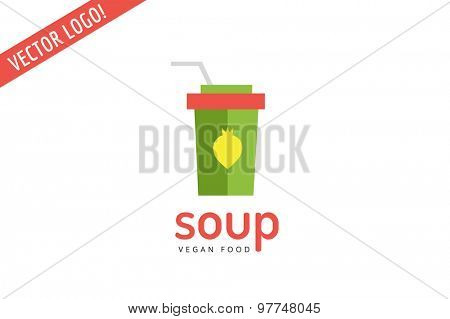 Vegan eco soup pack logo icon. Nature product, food symbol or vitamin, hot fastfood, green, vegetables. Design element. Isolated on white