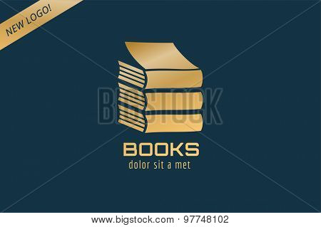 Book template logo icon. Back to school. Education, university, college symbol or knowledge, books stack, publish, page paper. Design element