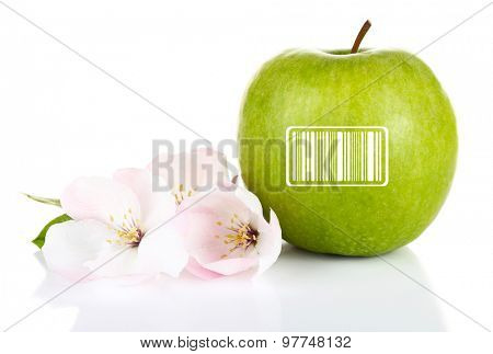 Fresh apple with barcode and apple blossom, isolated on white