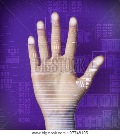Human palm with microchip picture on it on dark violet background