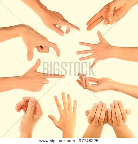 Hands gestures on light background