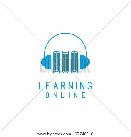 Online Language Learning Logo, Speaking And Books, Concept  Network Education