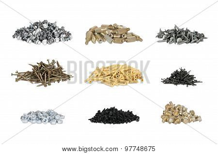 set of nails, screws and nuts
