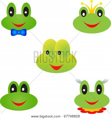 Frog Vectors, Isolated Frog Faces, Frog Cartoons