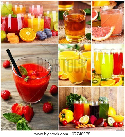 Collage of fresh juices