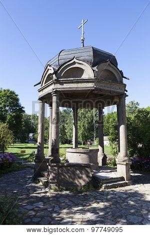 Ciborium (Well) Yuriev Monastery. Velikiy Novgorod. Russia.