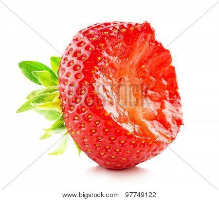 Bitten Strawberry On The White Background