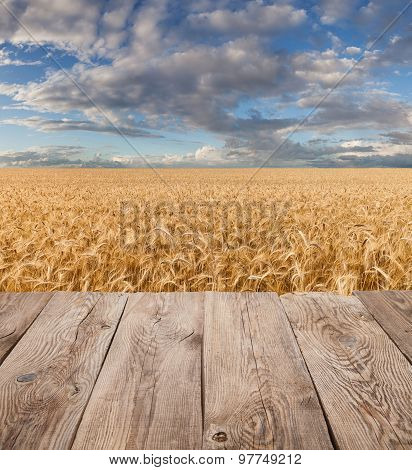 Empty wooden deck table over wheat field.