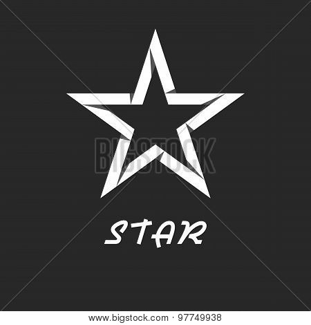 Paper Star Mockup Black And White Logo, Design Graphic Icon