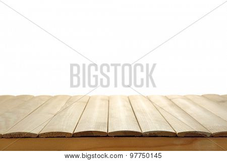 Wooden desk isolated on white background