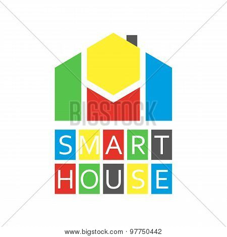 Smart House Colored Logo, Abstract tech Buiding