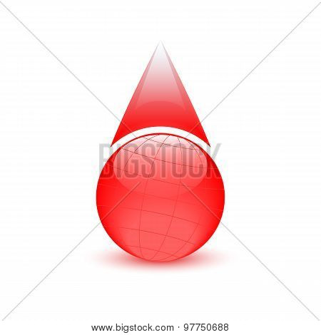 Blood Drop, Globe abstract Sign, Donor Day
