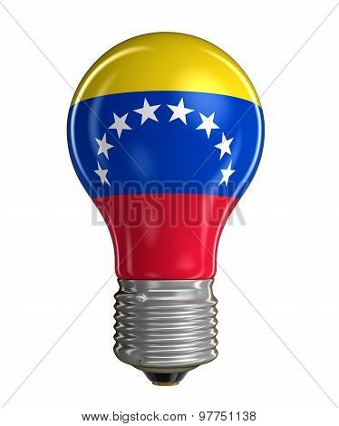 Light bulb with Flag of Venezuela (clipping path included)