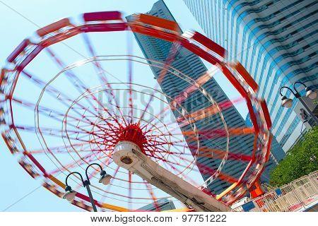 Spinning Ferris wheel (Big Wheel). Yokohama City Japan