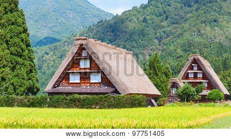 Village located in Gifu Prefecture Japan.