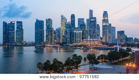 Evening view of Downtown Core Skyscrapers and Bayfront district. Singapore