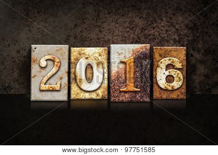 2016 Letterpress Concept On Dark Background