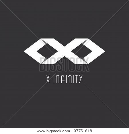 Infinity Sign Or Letter X, Idea Of Modern Logo, Infinity Sign Of The Two Rhombus, Overlapping Techni